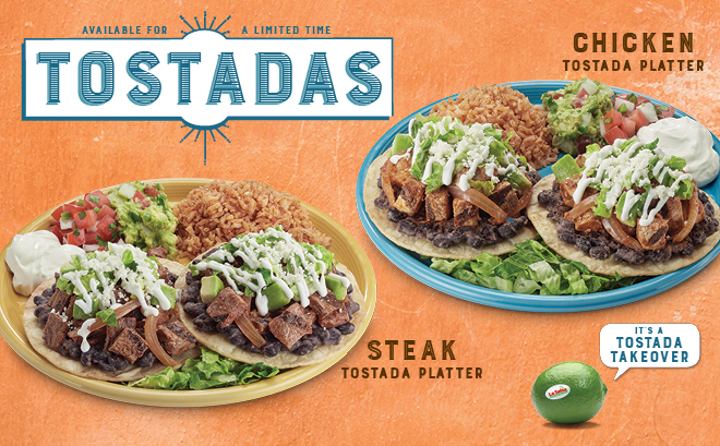 Available for a limited time - tostada platters in steak and chicken